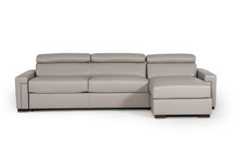 ✅ Estro Salotti Sacha Modern Grey Leather Reversible Sofa Bed Sectional w/ Storage | VivaSalotti.com