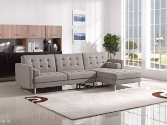 ✅ Divani Casa Smith Modern Brown Fabric Sectional Sofa Bed | VivaSalotti.com