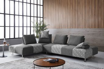 ✅ Divani Casa Cooke Modern Grey Houndstooth Fabric Modular Sectional Sofa Bed | VivaSalotti.com