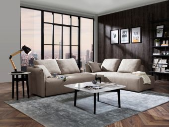 ✅ Divani Casa Polson Modern Modular Light Grey Fabric Sectional Sofa Bed | VivaSalotti.com