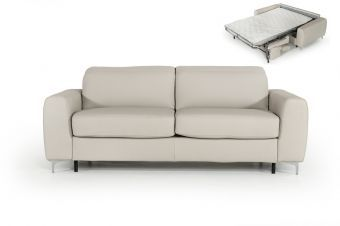 ✅ Estro Salotti Tourquois Italian Modern Light Grey Leather Sofa Bed | VivaSalotti.com