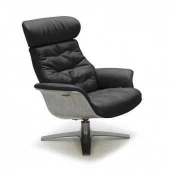 Karma Italian Leather Premium Chair, Black