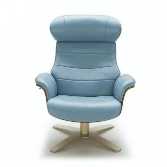 Karma Italian Leather Premium Chair, Blue