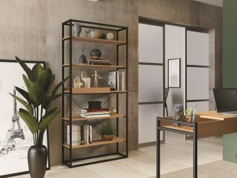 NOA bookcase in birch melamine with black metal painted frame and removable tray