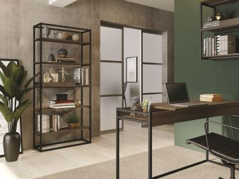 NOA bookcase in dark brown oak melamine with black painted metal frame and removable tray