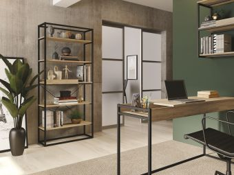 NOA bookcase in oak melamine with black painted metal frame and removable tray
