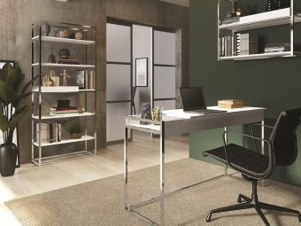 NOA bookcase in matte white with chromed metal frame and removable tray