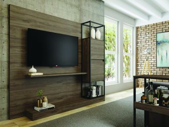 NOA TALL entertainment center in dark brown oak melamine with black painted metal frame