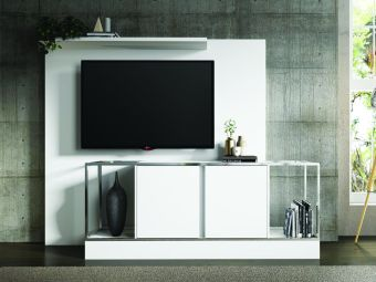 NOA TALL entertainment center in matte white with chromed metal frame