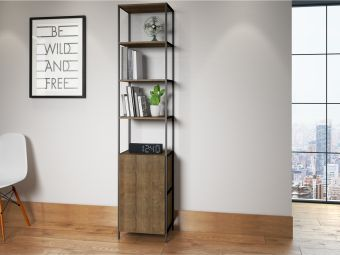CLARK bookcase in walnut melamine with black painted metal frame