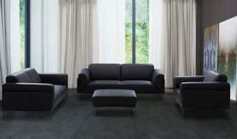 ✅ Knight Leather Sofa Set, Black | VivaSalotti.com | pic24
