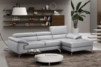 ✅ Liam Premium Leather Sectional in Left Hand Facing Chaise | VivaSalotti.com | pic1