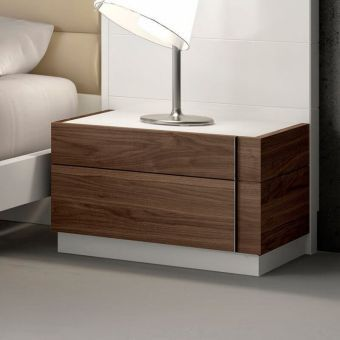 Lisbon Premium Glass Top Right Nightstand, White/Beige/Walnut