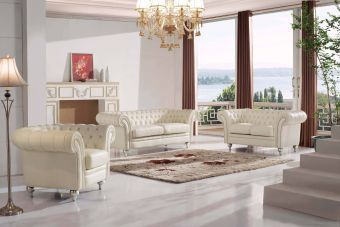 ✅ 287 Tufted Cream Living Room Set by ESF | VivaSalotti.com | pic