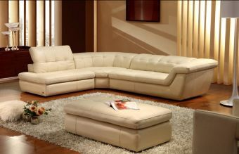✅ 397 Italian Leather Sectional Beige Color In Left Hand Facing | VivaSalotti.com | pic3