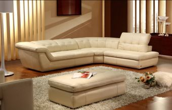 397 Italian Leather Sectional Right Hand Facing in Beige