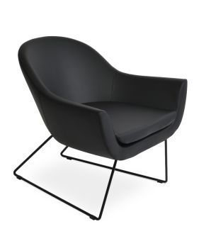 Madison Sled Wire Leatherette Lounge Armchair