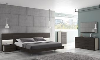✅ Maia Premium Platform Bedroom Set, Light Grey/Wenge | VivaSalotti.com | pic
