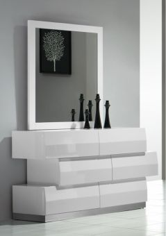 Milan Dresser & Mirror in White