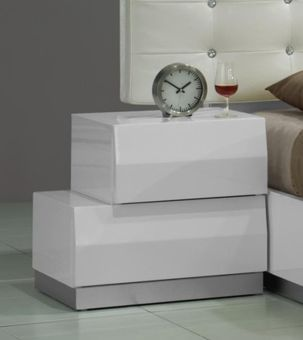 Milan Left Facing Night Stand in White