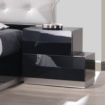 Milan Modern Lacquer Right Nightstand, Black Lacquer