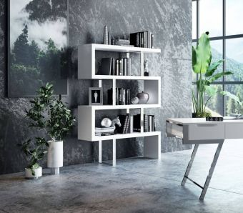 ✅ Modrest Maze Modern White High Gloss Bookcase | VivaSalotti.com