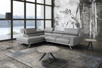 Mood Grey Leather Sectional Left Hand Facing