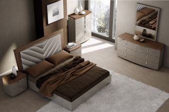 ✅ The Napa Modern Wood Veneer/Leather Platform Bedroom Set, Walnut/Grey | VivaSalotti.com | pic1