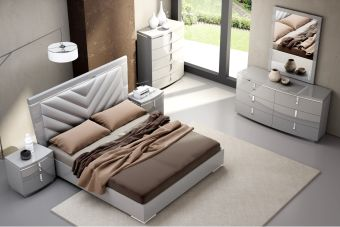 ✅ New York Modern Upholstered/Glossy Panel Bedroom Set, Grey | VivaSalotti.com | pic2