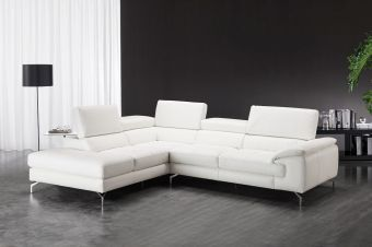 Nila Premium Leather Sectional In Left Facing Chaise