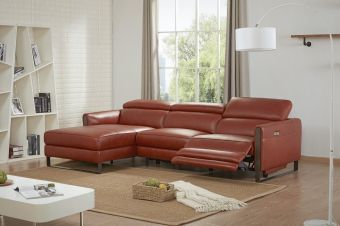 Nina Premium Leather Sectional In Left Hand Facing