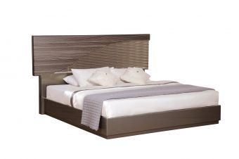 North Zebra Wood Gold Line Queen Bed