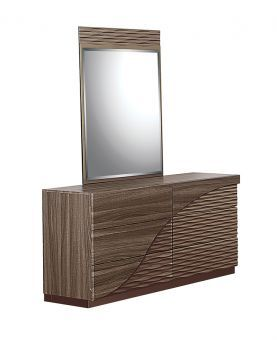 North Zebra Wood Gold Line Mirror