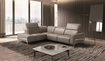 ✅ Ocean Grey Leather Sectional Left Hand Facing | VivaSalotti.com | pic1