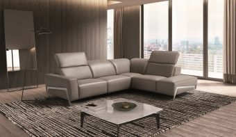 Ocean Grey Leather Sectional Right Hand Facing