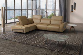 Ocean Honey Leather Sectional Left Hand Facing