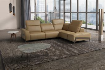 Ocean Honey Leather Sectional Right Hand Facing