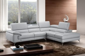 ✅ Olivia Premium Leather Sectional In Right Facing Chaise | VivaSalotti.com | pic1