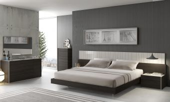 ✅ Porto Premium LED Platform Bedroom Set, Light Grey/Wenge | VivaSalotti.com | pic1