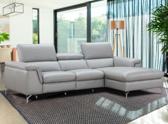 Serena Premium Leather Sectional in Right Hand Facing Chaise