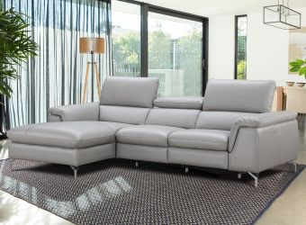 ✅ Serena Premium Leather Sectional in Left Hand Facing Chaise | VivaSalotti.com | pic1