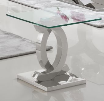 151 Modern Clear Glass Side Table w Chrome Legs