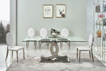 ✅ 151 Modern Clear Glass Dining Table w Chrome Legs  | VivaSalotti.com | pic1