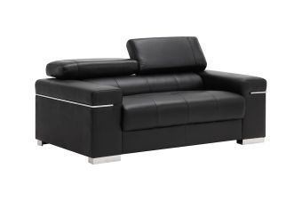 ✅ Soho Loveseat in Black Leather | VivaSalotti.com | pic1