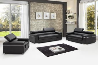 ✅ Soho Leather Sofa Set, Black | VivaSalotti.com | pic