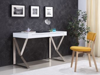YORK Office Table in High Gloss White Lacquer w High Polished Stainless Steel