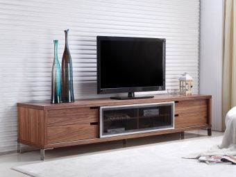✅ DUKE entertainment center in walnut veneer and smoked glass with high polished stainless steel. | VivaSalotti.com | pic