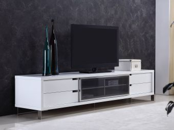 ✅ DUKE entertainment center in high gloss white lacquer and smoked glass with high polished stainless steel. | VivaSalotti.com | pic