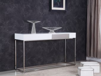 GIGA Console Table in High Gloss White Lacquer