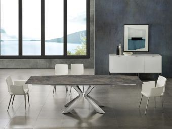 ICON dining table in brown marbled porcelain top on glass with polished stainless steel base